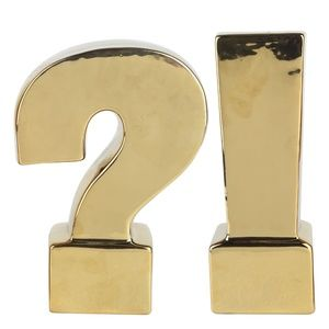 2 Piece GOLD Question and Exclamation Marks! NWOT
